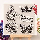 ECMQS Butterfly&Clock DIY Transparente Briefmarke, Silikon Stempel Set, Clear Stamps, Schneiden...