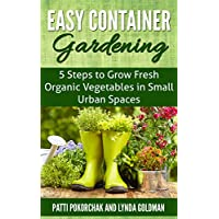 Book cover saying easy container gardening