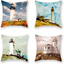 ShareJ 4 Pack Decorative Pillow Cover Waiting Lighthouse Throw Pillow Cases Home Decor Indoor Gift Kitchen Garden Sofa Bedroom Car Living Room 18X18 Super Soft Pillowcase