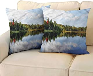 RuppertTextile Rustic Couple Pillowcase Sunny Day in Northern Canada Anti-Fading W13 x L13