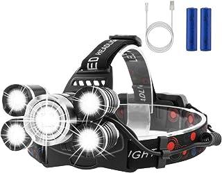 Mucrow LED ヘッドライト USB充電式 ヘッドランプ センサー機能 防水 超高輝度 5灯式 4段階の点灯モード 防災/登山/釣り/夜間作業/キャンプ/などに適用ヘッドライト PSE認証 18650リチウムイオン蓄電池 USBケーブル付属