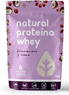 Proteína Whey Frambuesa y Coco - Natural Athlete - 85% Proteína aislada de leche de vacas de pasto - Grass-fed, 100% Natural - BIO - Sin Gluten - Sin Azúcar añadido - Sin Aditivos Artificiales. 350g