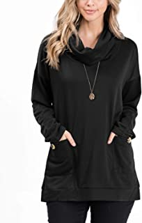 Women's Long Sleeve Cowl Neck with Pocket and Button Detail Tunic Top