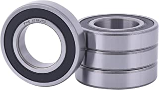 XiKe 4 Pcs 6210-2RS Double Rubber Seal Bearings 50x90x20mm, Pre-Lubricated and Stable Performance and Cost Effective, Deep Groove Ball Bearings.
