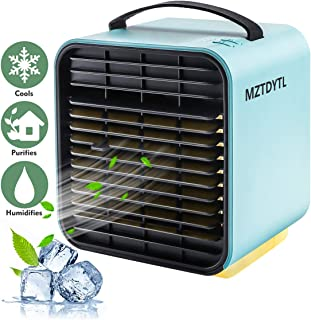 Air Conditioner Fan, Personal Space Air Cooler Desktop Fan Mini Air Circulator Purifier Cooler with Portable Handle and Night Light for Home Room Office Outdoors(Blue)