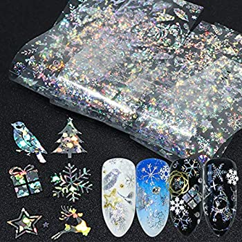 Snowflakes Nail Art Foils 3D Holographic Winter Nail Sticker Decals Word Snow Fireworks Christmas Foils Transfer Nail Supply Nail Decorations for Women Kids Girls Nail Foils Nail Arts  10 Sheets  …