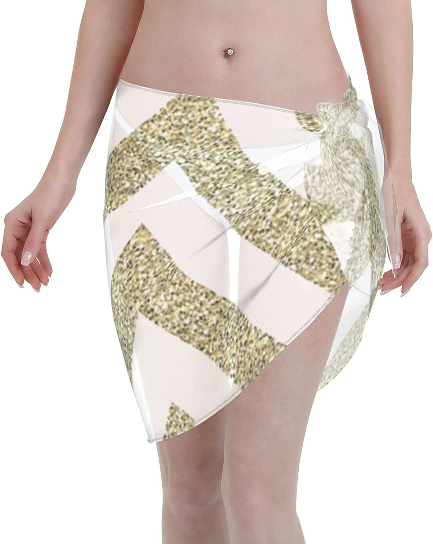 Modern Chevron Pattern Bold Gold Glitter White Women Chiffon Beach Cover ups Beach Swimsuit Wrap Skirt wrap Bathing Suits for Women