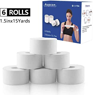 AUPCON White Athletic Tape Climber Tape Sports Boxing Tape Strong Muscle Support Easy Tear First Aid Injury Tape Great for Ankle Knees Wrist Joints to Athlete & Medical Trainers