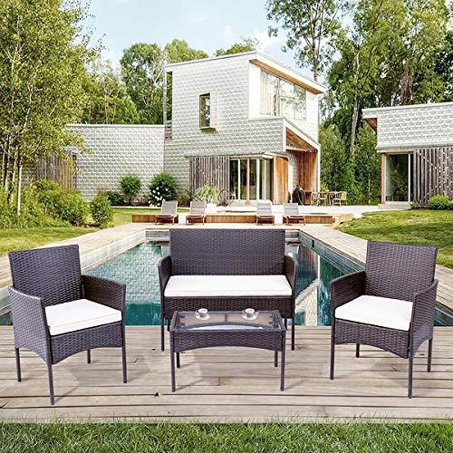 Conjunto de muebles de jardín de polirratán para 4 personas, sofá y mesa, incluye cojín para jardín, balcón y terraza