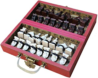 Moonsun08 32 Pieces Terracotta Warriors Soldiers Figure Chess Set with Folding Board Game 21cm x 11cm x 6cm
