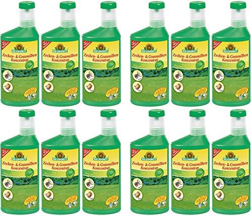 Neudorff Zecken- & Grasmilben Konzentrat Gardopia Sparpakete + Zeckenzange mit Lupe (12 x 500 ml)
