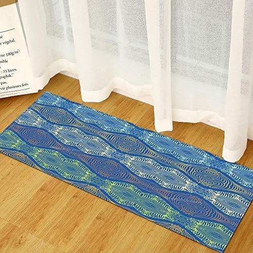 Tapijtloper van flanel met geometrisch patroon, blauw, voor de keuken, voor de entree, voor binnen en buiten, antislip