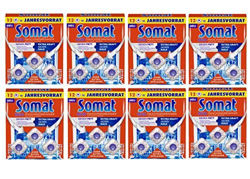 Somat Duo Maschinenreiniger Tabs, Geschirrspül-Reiniger, Gegen Fett + Extra Kraft gegen Kalk, 8er Pack (8 x 12 Stück)