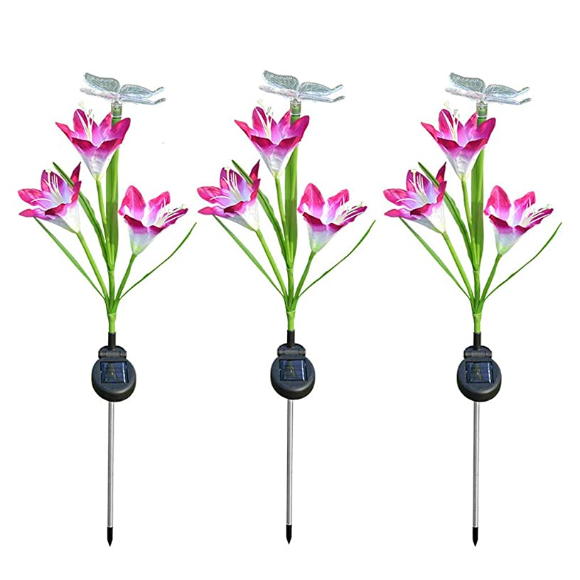 Solar Power Lily Flower Light Outdoor Garden Yard Path Lawn Landscape Lamp 3PCS- Is used for house or outdoor decoration, beautiful and romantic. (Purple)