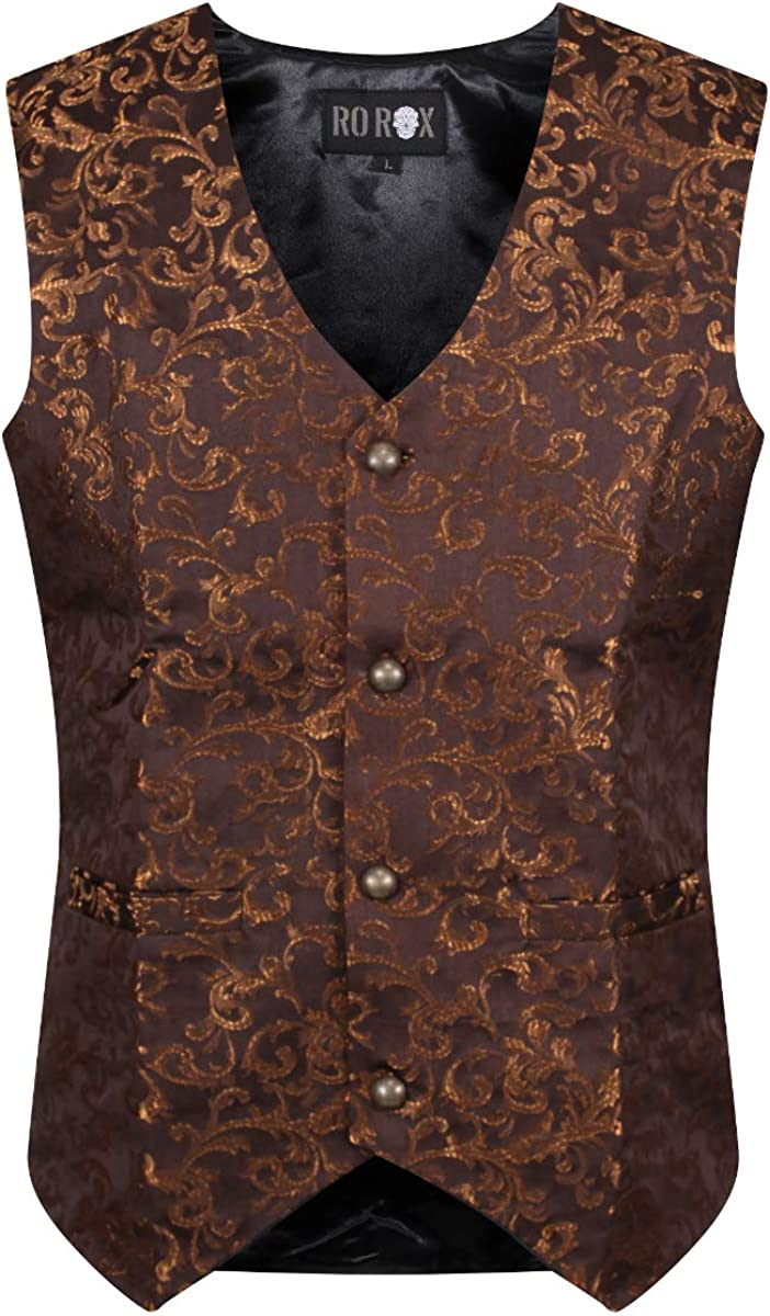 Spasm price Ro Rox Men's Tailored Gothic Brocade Waistcoat Steampunk Same day shipping