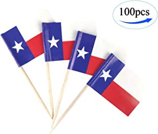 JBCD Texas Flag Toothpicks Texans Flags Party Cupcake Topper Cocktail Tooth Picks Decorations Toothpick Flag Bar Picks Cup Cake Mini Small Paper Flag State Tiny Dinner Food Thin Sticks