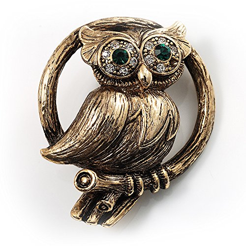 Avalaya Vintage Crystal Owl Brooch (Antique Gold)