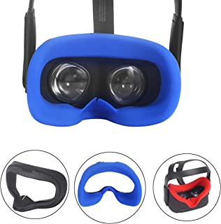 Esimen VR Face Silicone Cover Mask & Face Pad for Oculus Quest Face Cushion Cover Sweatproof Lightproof (Mask Blue)