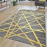 TT Home Alfombra salón, Moderna, de Pelo Corto, líneas abstractas, en Amarillo y Gris, 120 x 170 cm