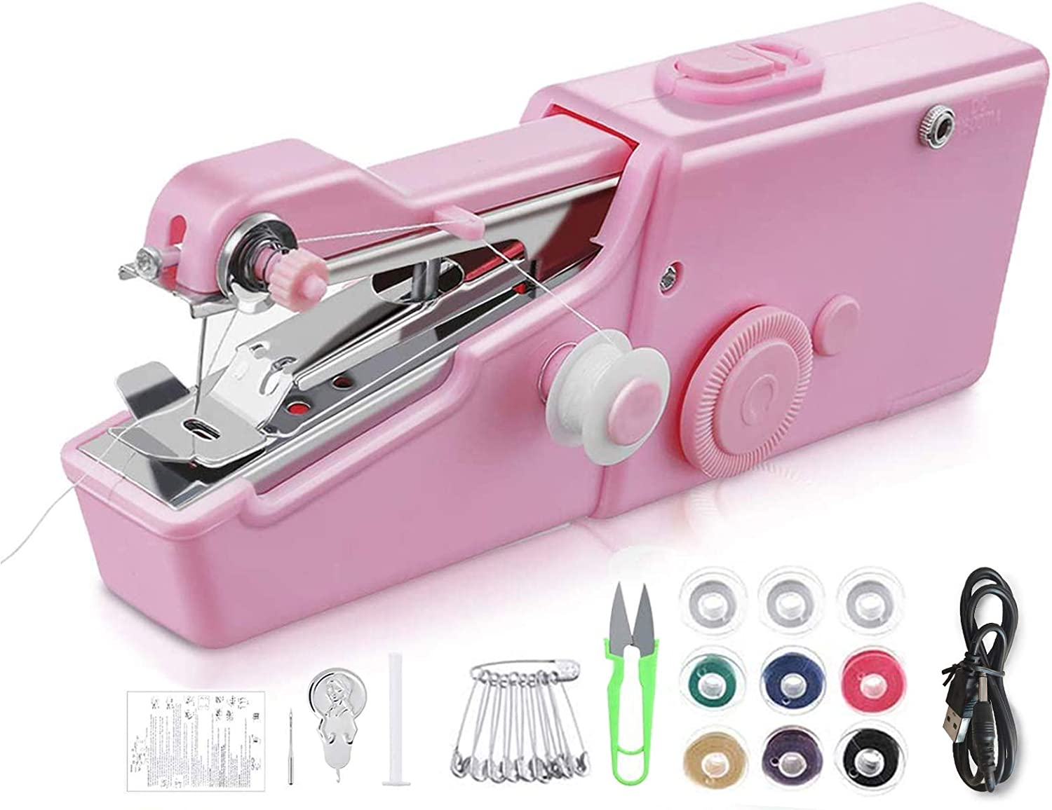 Needle and Threader Use for Travel and Home Mini Portable Sewing Machine Quick Stitch Sewing Tool for Fabric Portable Quick Stitch Tool Mini Sewing Machine 20 x 5 cm