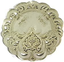 Doily Boutique Round Doily with an Ivory Lace Inset, Size 7 inches