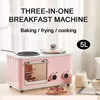 Mini horno de 5 l tres en uno multifunción pequeña máquina de desayuno, freír hervir al mismo tiempo, ahorrar tiempo, azul claro XUAGMT (color rosa)