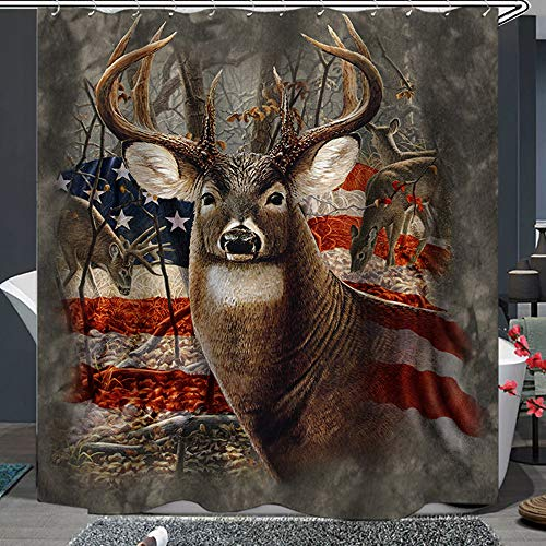 Shower Curtain Set with Hooks Soap Resistant Waterproof Deer Big Antler StarSpangled Banner Background Bathroom Decor Machine Washable Polyester Fabric Bath Curtain 71 x 71 inches
