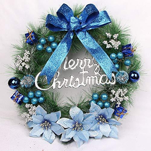 TITO Decorazione per Ghirlande Natalizie, Classica Porta per Ghirlande Natalizie Verde Artificiale, per La Decorazione della Porta D'ingresso, Inverno per Uso Interno All'aperto (Blue)