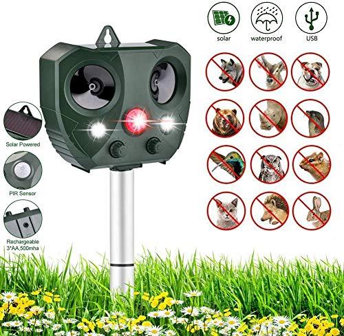 MOMO Solar Katzenschreck Ultraschall Für Hauswache Im Freien Elektronisches Katzen-Abwehrmittel Tier Schädlingsbekämpfung für Katzen, Hunde, Schädlinge, Rotwild