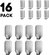 Adhesive Hooks Stick on Hooks Heavy Duty Wall Hooks for Hanging Stainless Steel Ultra Strong Waterproof Wall Hangers for Robe Coat Towel Keys Bags Home Bathroom 16 Pack