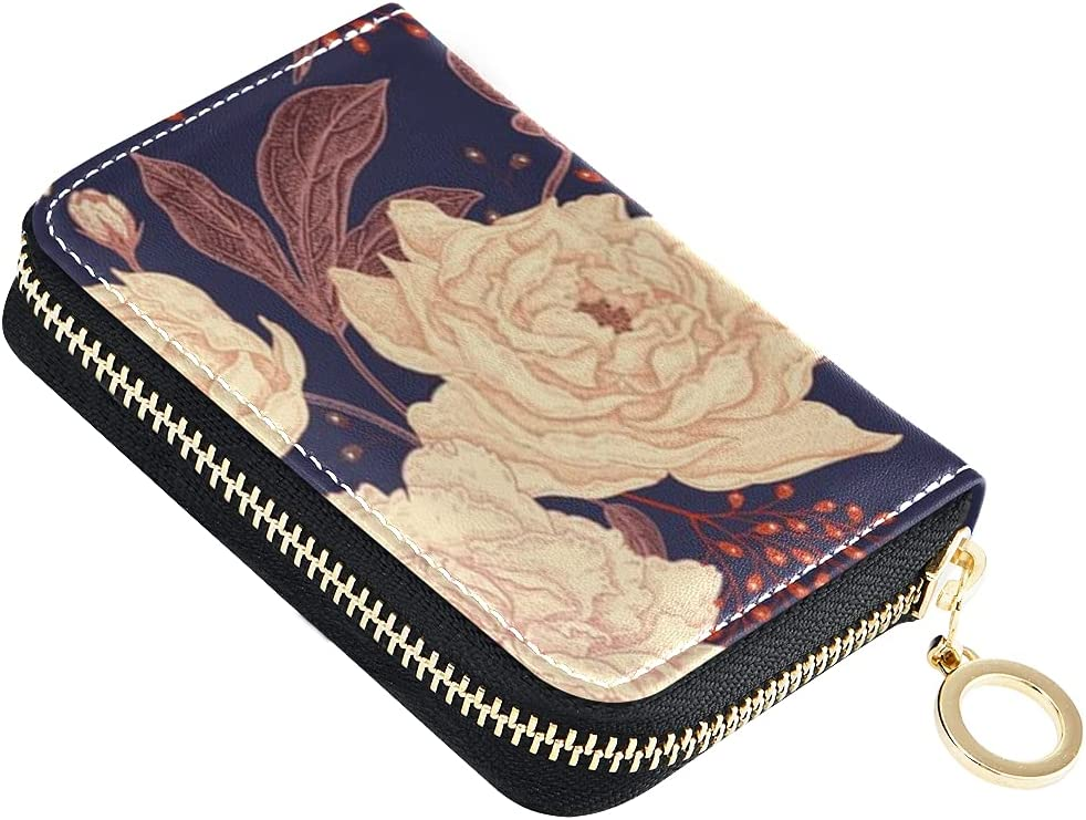 Card Wallet Peonies Roses Max 80% OFF Floral Leather Credit Zipper Small Selling rankings Ca