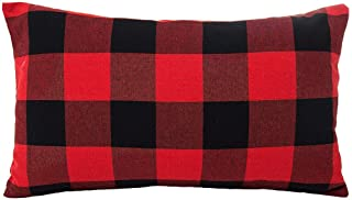 LEIOH Christmas Decorations Retro Checkers Plaids Cotton Linen Pillow Covers 12x20 Inches Farmhouse Decorative Throw Pillow Covers Cushion Case for Sofa Bed Set of 2
