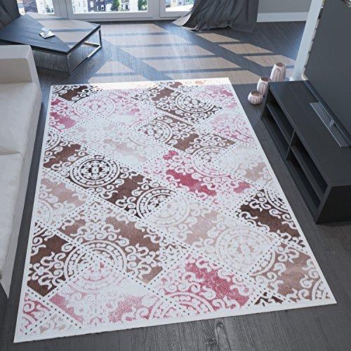 VIMODA saphir7119 tapijt, edel, modern, 3D-effect en Lurex, ruitpatroon, natuurlijk vriendelijk modern 80 x 150 cm roze/bruin/crème.