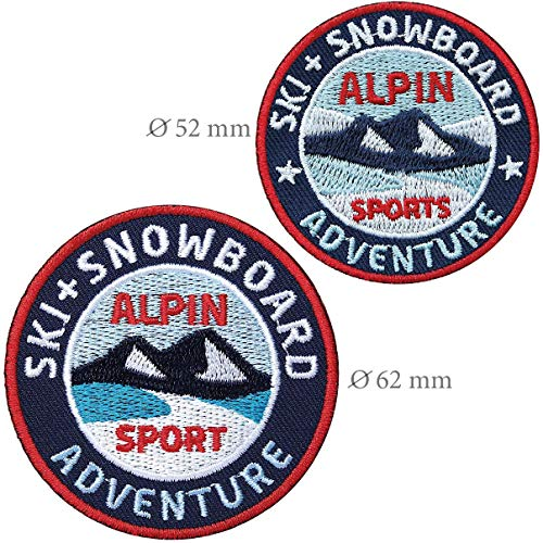 Club of Heroes 2er-Set Aufnäher Ski + Snowboard 62 mm + 52 mm gestickt rund/Winter Alpin Sport Wintersport/Applikation Aufbügler Flicken Bügelbild, Patch/Patches für Kleidung Jacke Rucksack
