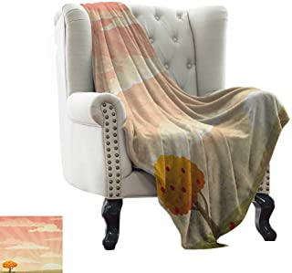 BelleAckerman Custom Blanket Meadow,Lonely Tree Floral Rural Field Clouds and Sun Reflections Idyllic Cartoon, Pale Peach Coral for Bed & Couch Sofa Easy Care 60