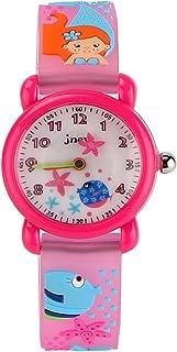 JIAN YA NA Children's Watch Waterproof 3D Cute Cartoon Design Round Dial Silicone Rubber Jelly Color Watch Band Xmas Gifts Quartz Wristwatch for Little Girls Boy Kids Children (Pink(3D Mermaid))