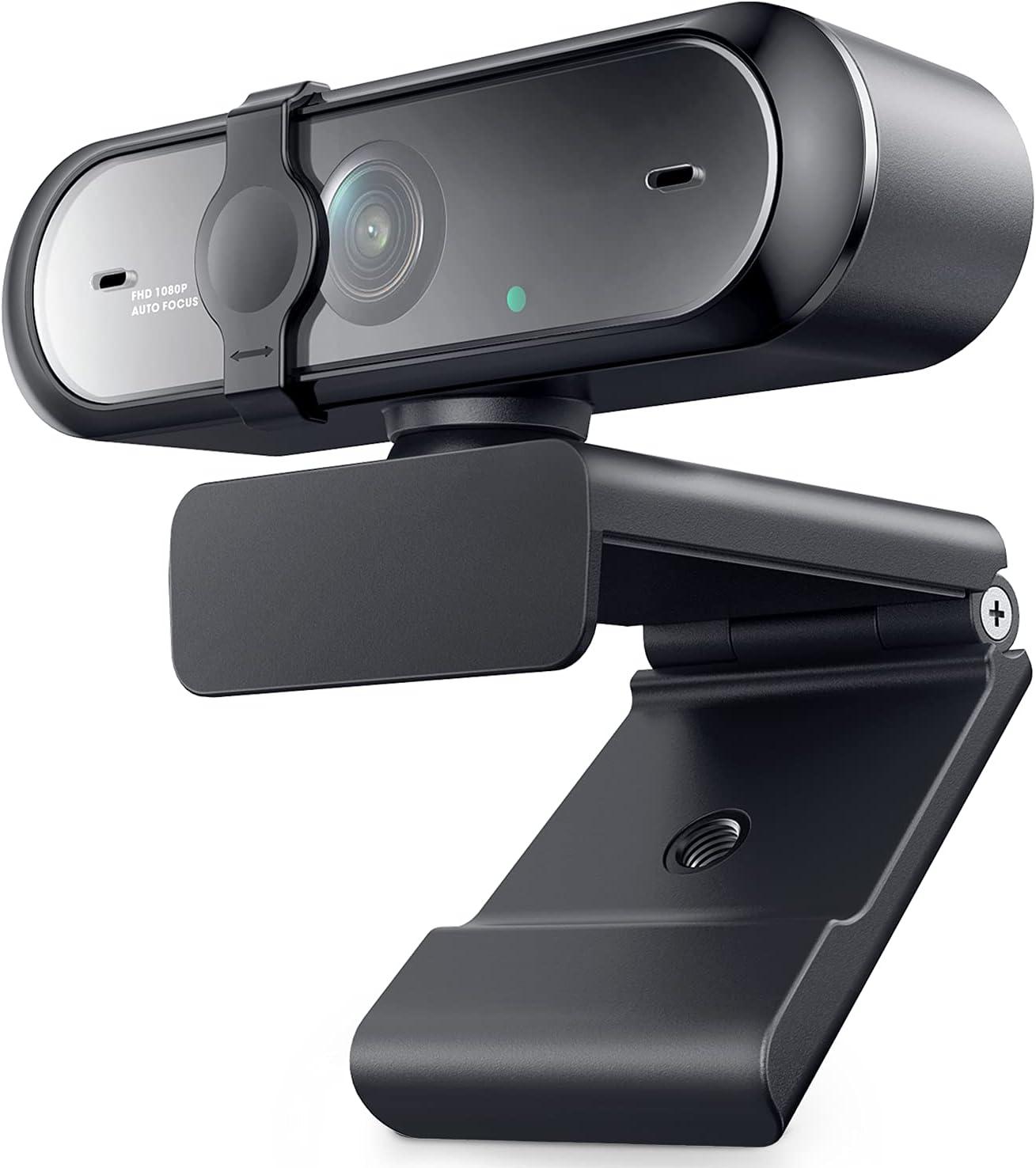 Webcam 1080P HD con micrófono, cámara Web con Enfoque automático y Cubierta de privacidad Plug and Play para Mac Windows PC Videollamada, transmisión de Juegos, Conferencia
