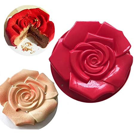 """FantasyDay 11"""" Rose Flower Birthday Cake Mold Silicone Cake Baking Pan / Silicone Mold for Anniversary Birthday Cake, Loaf, Muffin, Brownie, Cheesecake, Tart, Pie, Flan, Bread and More #1"""