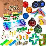 Mibote 34 Pcs Fidget Toys Set, Sensory Fidget Toys Bundle for Kids/Adults Stress Relief and Anti-Anxiety Hand Toys , Liquid Motion Timer, Fidget Pad, Snake Cube, Puzzle Balls, Cube