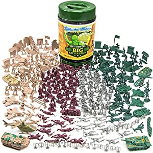 260 Piece Tiny Troopers Big Battle Drum Army Man Playset with Vehicles, Provisions, and Playmat by Imagination Generation