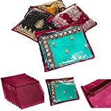 Fineway Pack of 20 Clear Saree Clothes Garment Sari Storage Bags Wardrobe Organiser