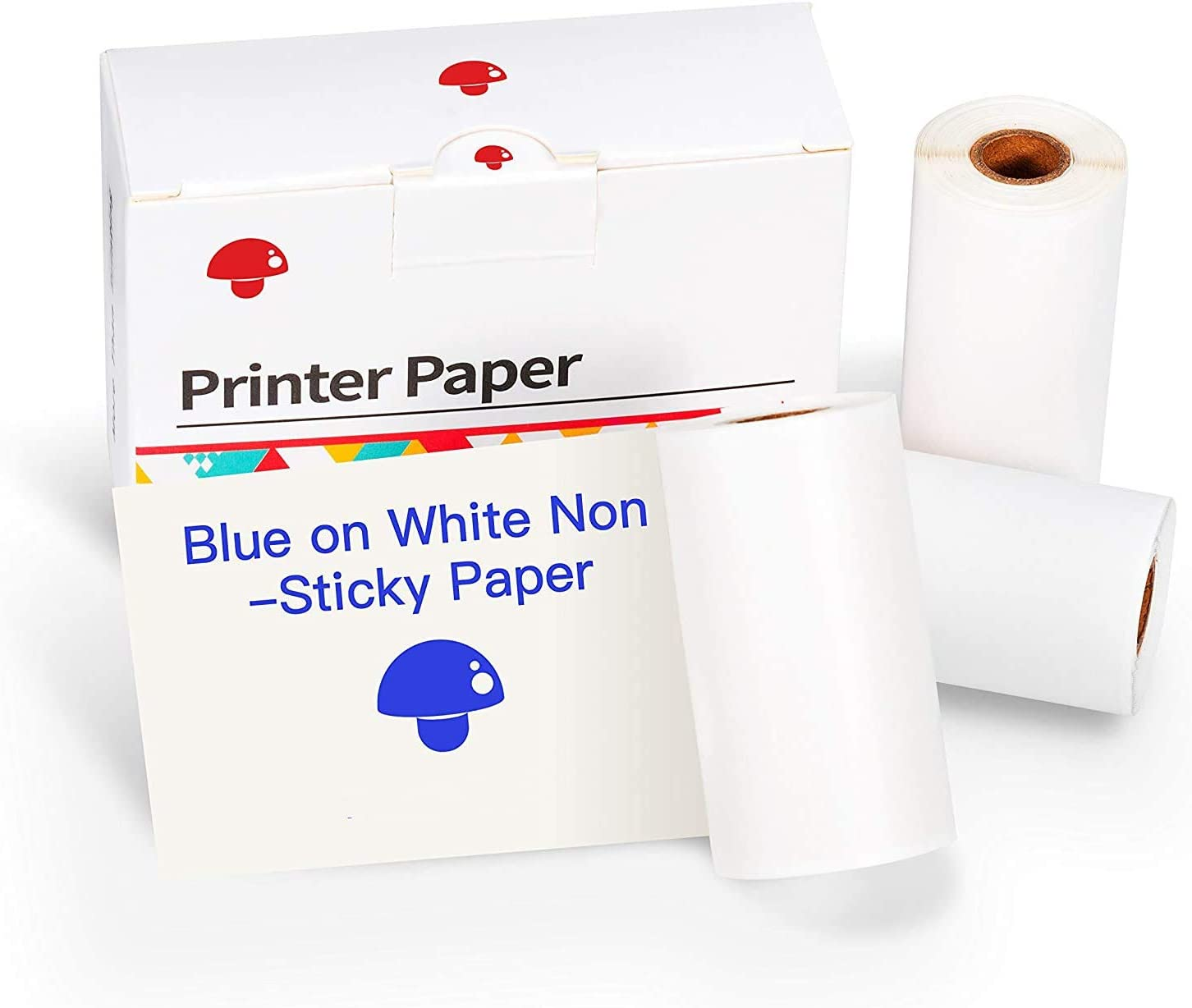BESHENG Blue Image Self-Adhesive Thermal Paper 3 Rolls, Sticker Paper Self-Adhesive for BESHENG MO2S Portable Pocket Printer (Blue Character on White, Diameter 30mm, 53mm x 3m, Storage Time 5 Years)