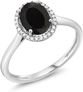 Gem Stone King 10K White Gold Black Onyx and Diamond Halo Engagement Ring 1.25 Cttw Oval (Available 5,6,7,8,9)