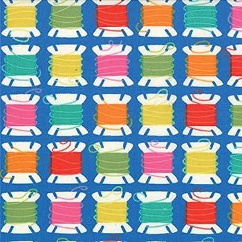 Tela por metros para Patchwork - 100% algodón - 110 cm ancho - Largo a elección de 50 en 50 cm | Azul con bobinas de hilo: Amazon.es: Hogar