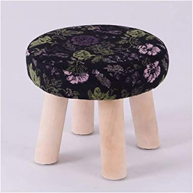 Carl Artbay Wooden Footstool Deep Purple Green Floral Pattern Household Solid Wood Stool Fashion Change Shoes Stool Home