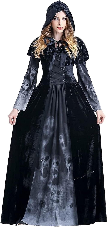 GDYJP 4 years warranty Halloween Women Hooded Outstanding Robe Witch Costume Pa Dress