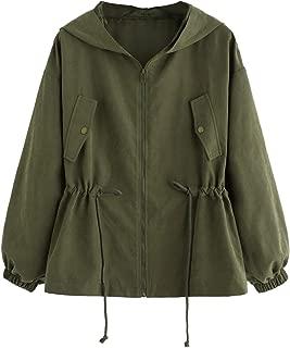 Floerns Women's Lightweight Hooded Zip up Drawstring Waist Active Jacket