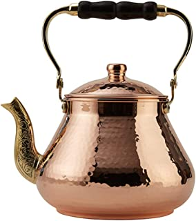 DEMMEX 2019 Heavy Gauge 1mm Thick Natural Handmade Turkish Copper Tea Pot Kettle Stovetop Teapot, LARGE 3.1 Qt - 2.75lb (Copper)