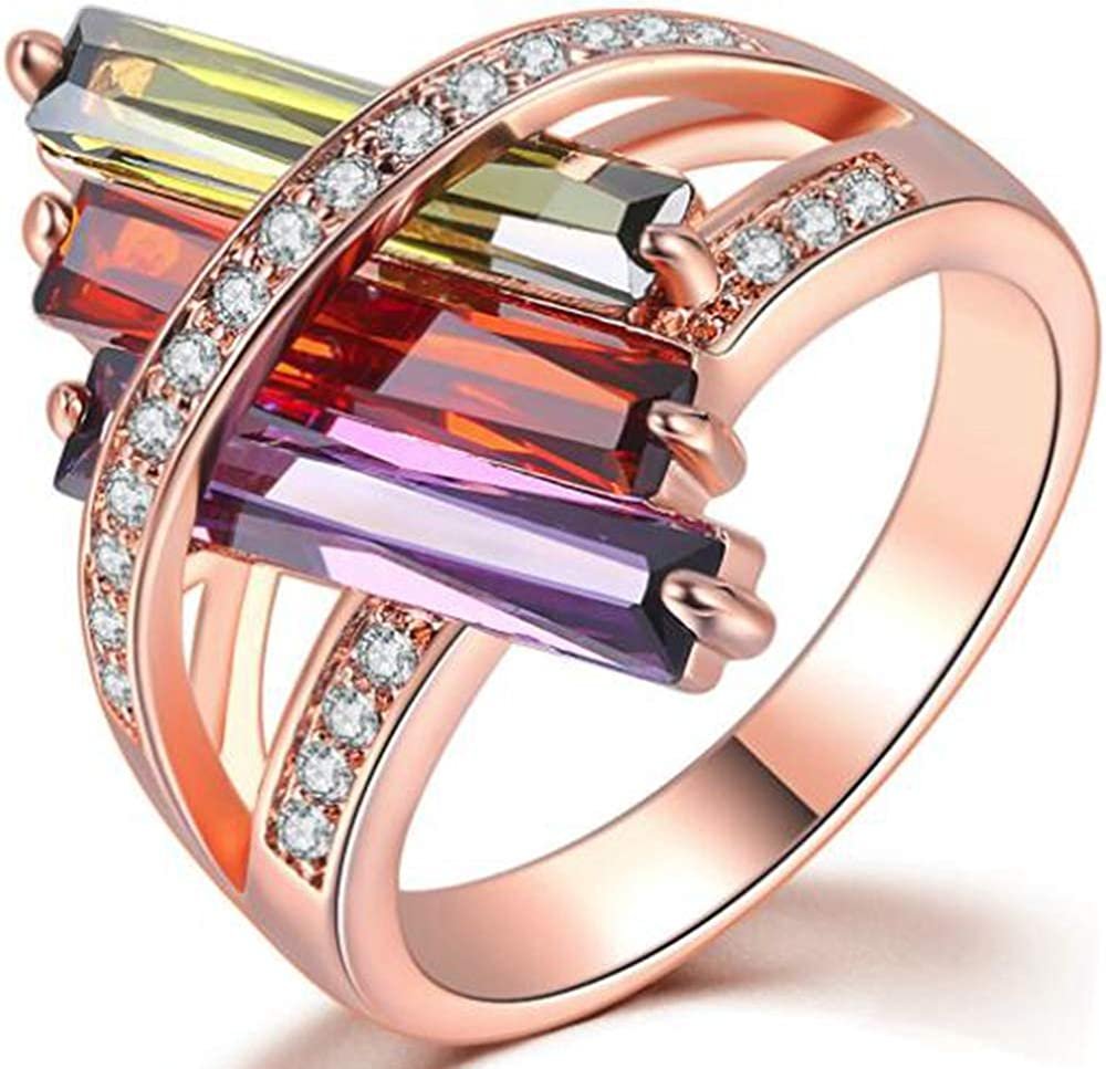Jude Jewelers Rose Gold Plated Austrian Crystal Chunky Style Cocktail Party Statement Ring