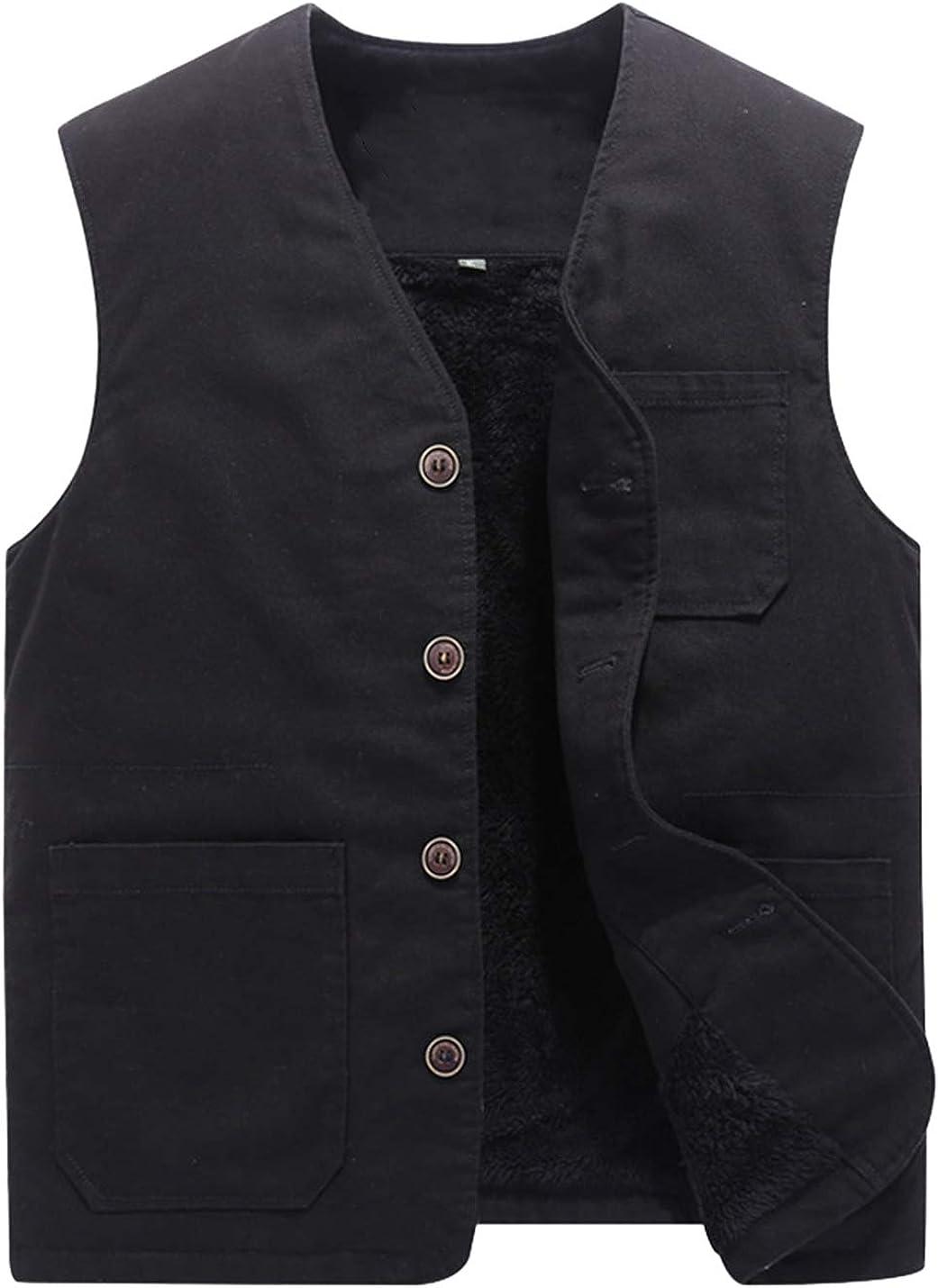 Lentta Men's Casual Fleece Lined Button Up Solid Vest Waistcoat